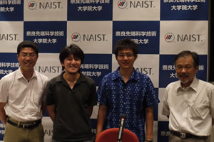 【写真】記者会見の様子。向かって右から横田明穂教授、博士研究員の小川太郎さん、博士課程学生の西村健司さん、蘆田弘樹助教